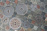 View of manhole covers