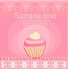 Vintage card with cupcake