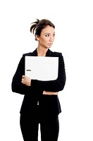 Portrait of business woman with folder. Isolated on white.