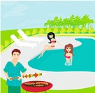 Barbecue Party on the pool