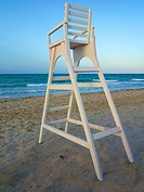 Life guard high chair on beach, Djerba,Tunisia