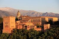 Spain, Andalusia, Granada, Alhambra, Sierra Nevada,