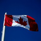 Low angle view of a Canadian flag