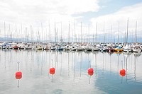 Yachts and boats in marina of Ouchi, Switzerland