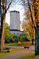Autumn view of gardens and tower at Schloss Bruck _ Lienz Austr
