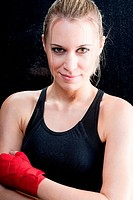 Fashion model _ Boxing training blond woman