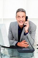 Attractive businessman on phone at his desk