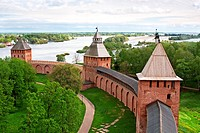 Old towers of Novgorod Kremlin, Veliky Novgorod, Russia