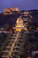 Bahai Temple & Garden cascade down the slopes of Mount Carmel in Haifa, Israel