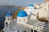 Greece, View of classical whitewashed church at Oia village
