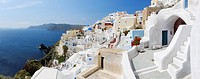 Greece, View of Oia village at Santorini