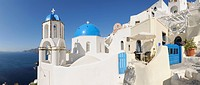 Greece, View of classical whitewashed church and bell tower at Oia (thumbnail)