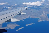 Greece, View from airplane with wing to part of Gulf of Corinth at Ionian Sea