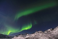 Norway, Troms, View of Aurora Borealis near Tromso