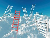 white and red stairs rising in clouds on a background blue sky