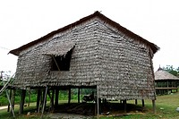 A traditional Bidayuh house at Deems Botanical Bamboos Garden, Sarawak, Malaysia