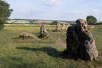 Rollright Stones, a Neolithic standing stone circle dating from around 2500BC, on the Oxfordshire Warwickshire border, England, United Kingdom, Europe