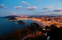 La Concha Bay, View from Mount Igeldo, Donostia, San Sebastian, Gipuzkoa, Basque Country, Spain.
