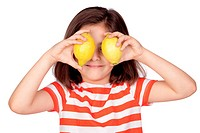 Brunette little girl with two lemons