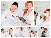 Collage of two female scientists doing experiments