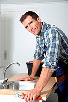 Closeup of plumber