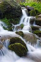 Cascading stream over moss covered boulders, Exmoor National Park, Devon, England, United Kingdom, Europe