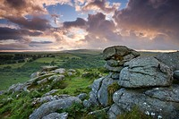 Holwell Tor on a stormy summer evening, Dartmoor National Park, Devon, England, United Kingdom, Europe