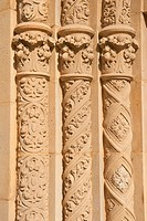 Three Ornate Circular Pillars Made of Stucco