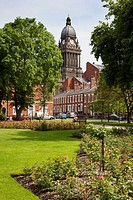 Leeds Town Hall from Park Square, Leeds, West Yorkshire, Yorkshire, England, United Kingdom, Europe