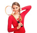 girl with badminton rackets