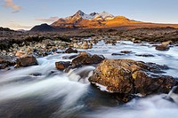 Sunrise view of the Black Cuillin mountain Sgurr nan Gillean, Glen Sligachan, Isle of Skye, Scotland