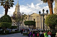 Plaza de Armas, Arequipa Cathedral in background, Arequipa, peru, peruvian, south america, south american, latin america, latin american South America