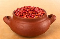 Raw Red Kidney Beans in Rustic Bowl