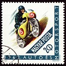 Post stamp shows motorcyclist