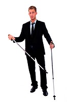 Young businessman with nordic walking sticks
