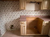 Kitchen withappliances removed from inside of a foreclosed home in Talahassee, Florida, United States