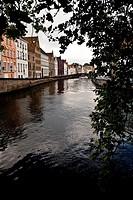 Spiegeireu canal, near of Jan van Eyckplein square, Bruges, Flanders, Belgium