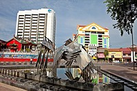 View from Promenade on old and new Buildings and Chinese Temple,Kuching, Borneo, Malaysia, Asia