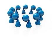 Blaue Spielfiguren im Kreis