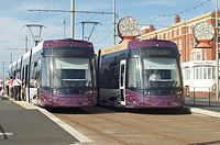 New trams operating along the seafront between Blackpool and Fleetwood, Lancashire,England