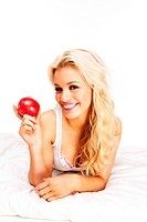 blonde with apple