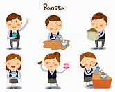 A illustration of barista in different position and emotions
