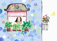 A illustration of a woman in a plant shop