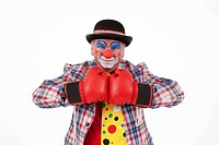 Clown wearing boxing gloves