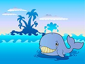 Big cartoon whale in sea
