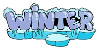Cartoon winter sign