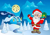 Santa Claus near small village 1