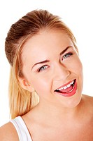 Blonde girl smiling with open mouth.