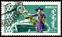 Passenger ship and man in national Mongolian costume on post stamp