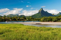Le Rempart mountain and Tamarin bay, Mauritius